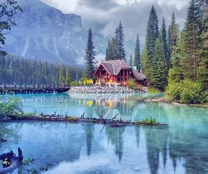 lake, house, and mountains image