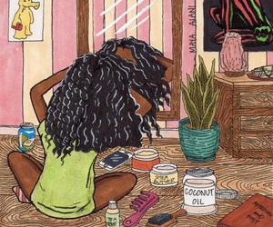 art, hair, and melanin image