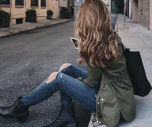 light brown hair, green jackets, and black tote bags image