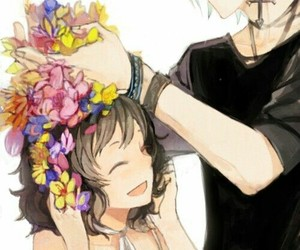 anime, flowers, and couple image