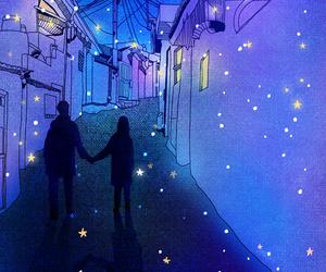 love, night, and stars image