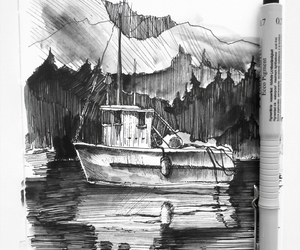 art, boats, and drawing image