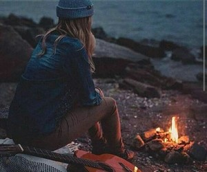 girl, guitar, and fire image