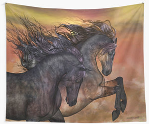 horses, tapestry, and wall art image