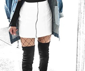 black turtleneck, white skirts, and black thigh high boots image