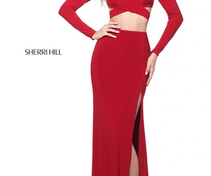 red long evening dresses and 2017 two piece prom dress image