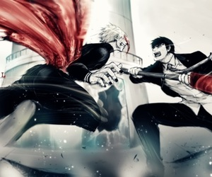 anime, fight, and kaneki ken image
