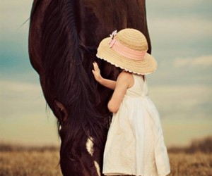 horse, girl, and child image