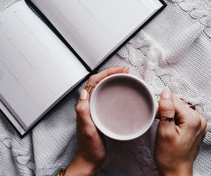 books, cup, and girl image
