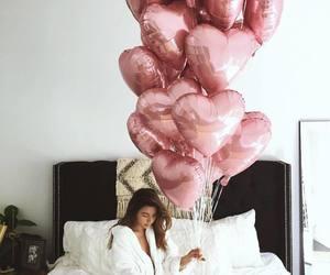 balloons, girl, and pink image