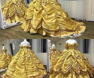 dress, disney, and beauty and the beast image