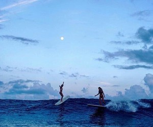 ocean, surfing, and blue image