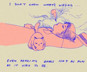 book, sad, and cat image