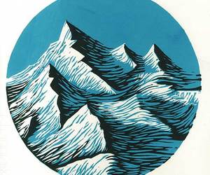 illustration, art, and mountains image