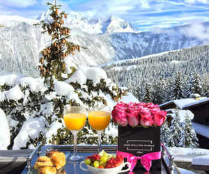 breakfast, roses, and snow image