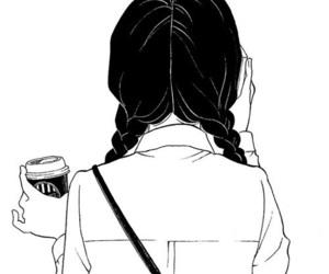 girl, drawing, and coffee image