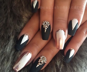 nails, black, and chrome image