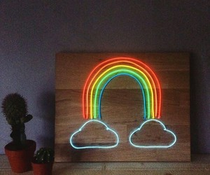 neon, rainbow, and clouds image