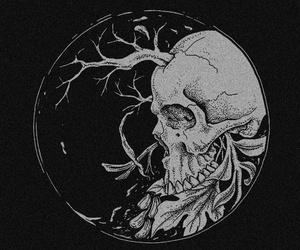 black and white, skull, and dark image