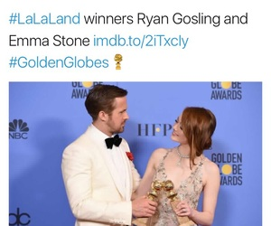 emma stone, golden globes, and ryan gosling image