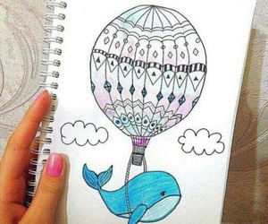 balloon, draw, and whale image