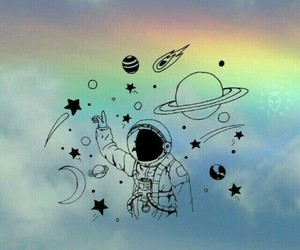 wallpaper, space, and rainbow image
