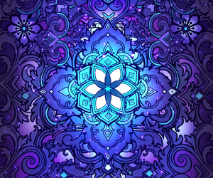 blue, floral pattern, and flower image