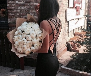 black, flowers, and fashion image