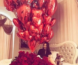 red, balloons, and rose image