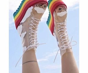 rainbow, shoes, and sky image