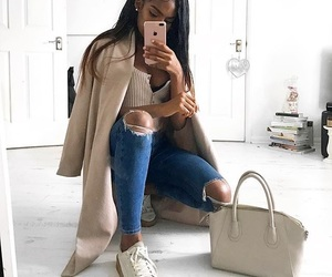 beige, creepers, and jeans image