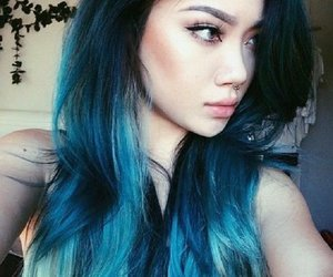 colored hair and blie hair image
