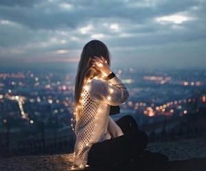 city, lights, and girl image