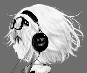 anime, music, and black and white image