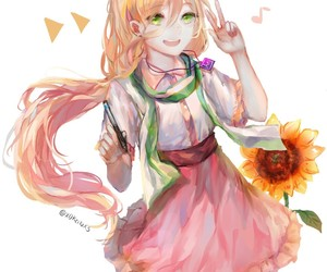 anime girl, blonde, and green eyes image