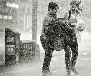 rain, couple, and photography image