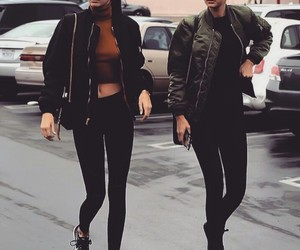 gigi hadid, kendall jenner, and outfit image