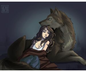 wolf, love, and art image