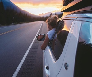 travel, car, and sunset image