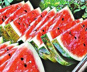 mosaic, watermelon, and summer image