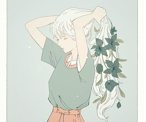 anime, flowers, and grey background image