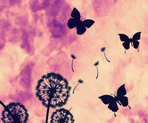 butterfly, dandelion, and wallpaper image