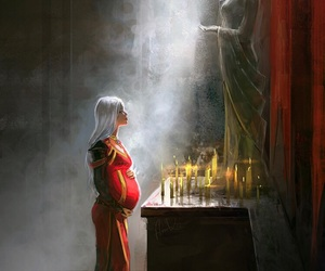 beautiful woman, candles, and royalty image