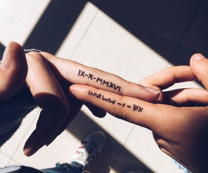 finger, tattoo, and x image
