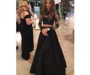 black prom dress, lace prom dress, and two piece dress image