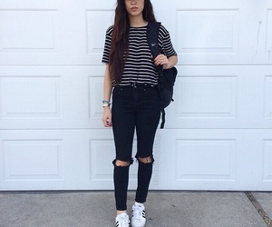 accessories, black jeans, and garage image