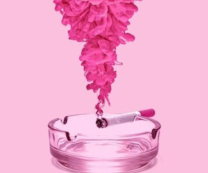 pink, smoke, and cigarette image
