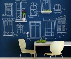 blue, chalkboard, and paint image