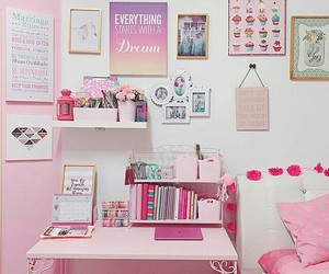 bedroom, table, and pink image