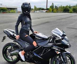 black, motorcycle, and women image